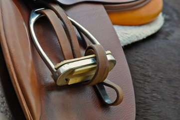 English saddle and stirrup detail