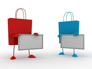 Red N Blue Shopping Bags