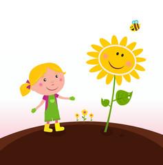 Spring gardening : Gardener child in the garden. Vector