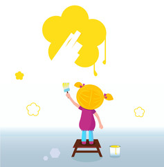 Little kid painting yellow spring Flower on the Wall. Vector