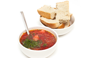 russian traditional borscht and bread