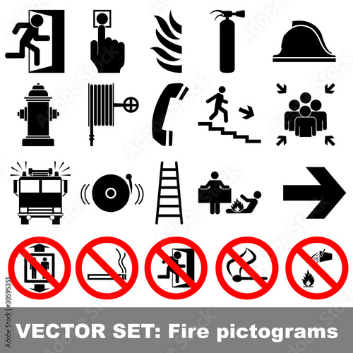 Vector set: fire pictograms