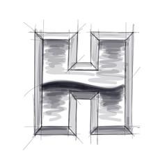 3d metal letters sketch - H. Eps10