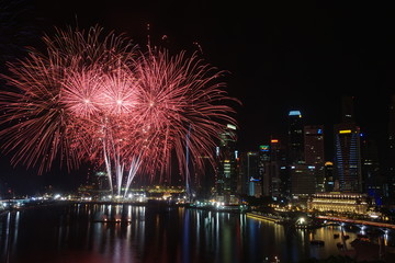 Fireworks at waterfront, Singapore