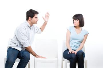 Man hitting his wife