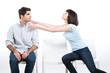 Woman strangling a man