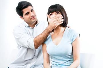 Man disables woman to speak