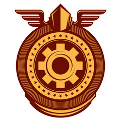 Illustrated working emblem with cogwheel.