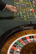 """Croupier, gambling chips and roulette wheel"""