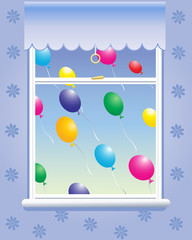 window with balloons