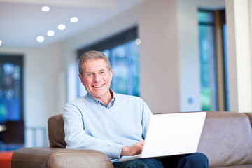 Smiling man using laptop on couch