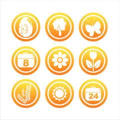 set of 9 orange spring signs