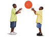 Brothers Playing With Giant Orange Ball
