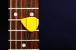 Guitar pick between strings