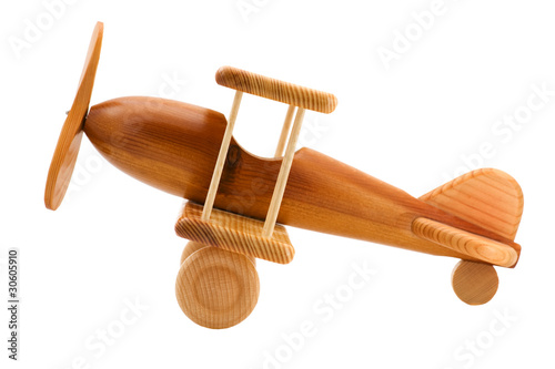 wooden toy airplane close up - 30605910