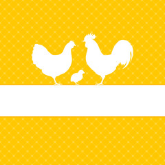 Easter Card Rooster, Hen & Chick Yellow