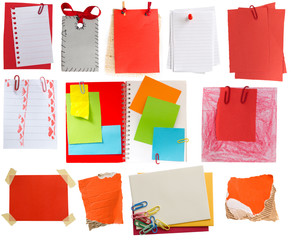 collection of red paper notes and tags