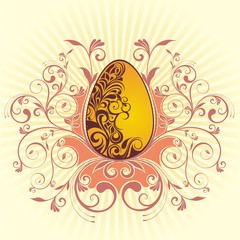 Easter card with floral background