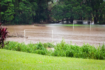 Flooded soccer field
