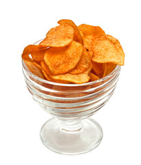 Potato chips in glass bowl, isolated on a white background.