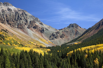 """Mountain and valley autumn trees, Ophir Pass, Colorado, United States"""