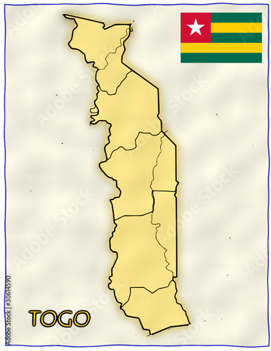 Togo political division national emblem flag map