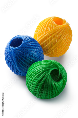 Acrylic yarn clews - green, blue and yellow