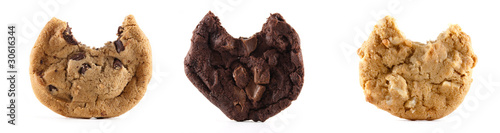 Three cookies with a bite on an isolated background