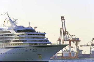 客船 コンテナクレーン 横浜港