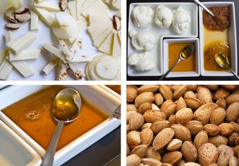Antipasti misti - formaggi, mozzarella, miele e mandorle