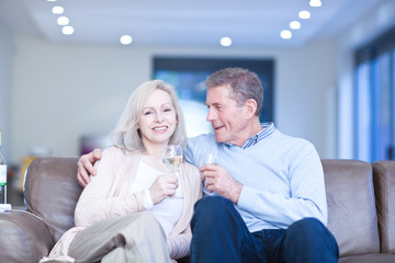 Happy couple drinking champagne on couch