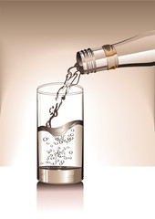 the bottle with water