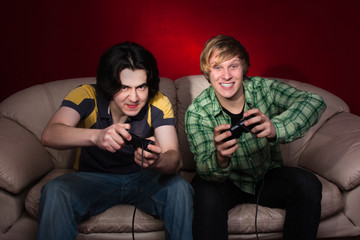 two guys playing video games