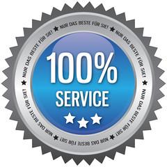 Button - 100% Service - blau