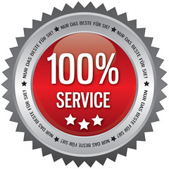 Button - 100% Service - rot