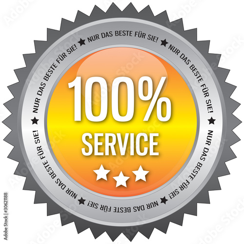 Button - 100% Service - gelb