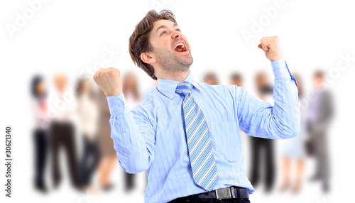 One very happy energetic businessman with his arms
