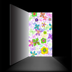 in a black room open doorway filled with flowers