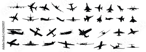 miltary, passenger, propeller and business aircraft silhouettes - 30621957