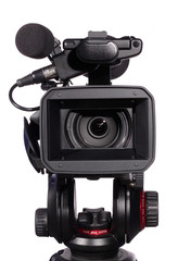 professional camcorder (isolated)
