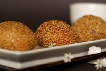 Red Bean Pastries coated with Sesame Seeds