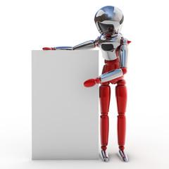 Robot con cartel
