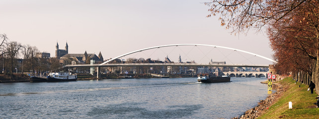 Cityscape of Maastricht (The Netherlands) with river Maas in fro