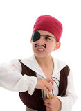 Angry pirate holding a scope poster