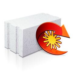 Parpaing de béton cellulaire : isolant de la chaleur (reflet)