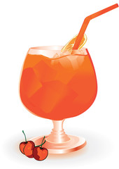 fresh cocktail with orange slice with ice cubes .vector