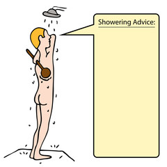 Man Scrubbing Back In Shower
