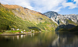 Scandinavian landscape: Fjord, mountains poster