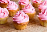 close-up of pink cupcake