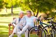 Elderly couple with their bikes